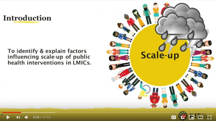 A presentation slide showing a sun which reads scale up is being rained on