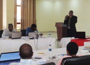 Dr Fosiko, Deputy Director of Clinical Services in the Ministry of Health, speaks to the workshop