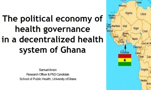 Presentation title and map of Africa showing Ghana