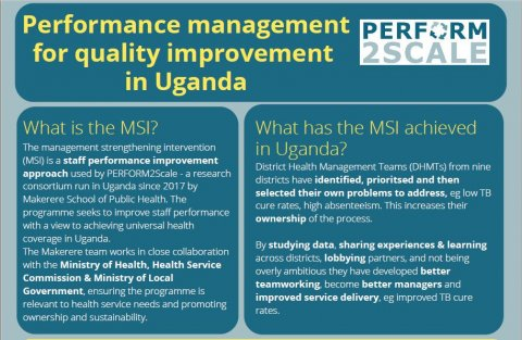 Screengrab of the brief that reads Performance Management for Quality Improvement in Uganda